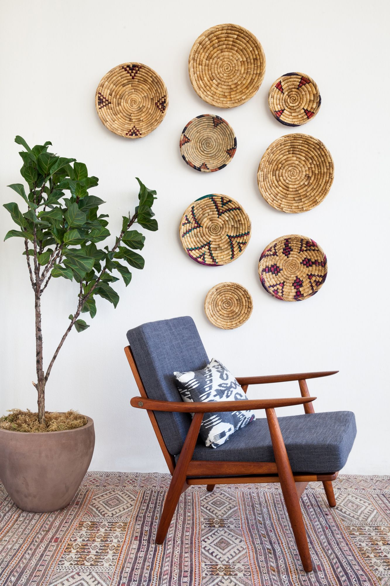 Marrakech kilims and baskets dwell pinterest kilims baskets mounted on the wall mid century modern chair and fig tree amipublicfo Choice Image