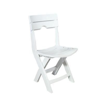 Adams Manufacturing Quik Fold White Resin Plastic Outdoor Lawn Chair 8575 48 3700 The Home Depot White Plastic Chairs Outdoor Folding Chairs Plastic Patio Chairs