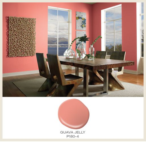 Guava tones are a match made in heaven with modern furnishings and brightly  lit rooms. The featured Behr paint color in this dining room is Guava Jelly