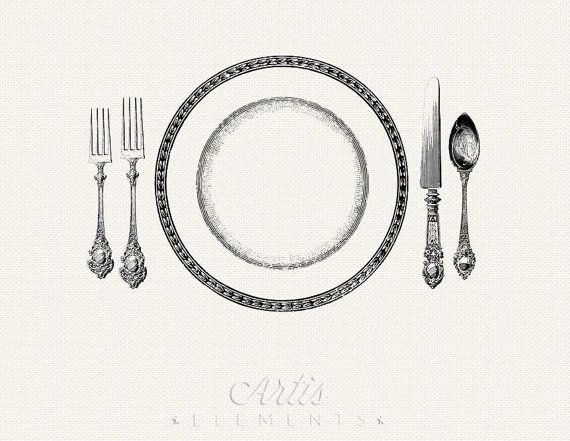 Printable Place Setting Dinner Plate Knife Fork Spoon Vintage