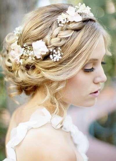 peinados de novia 2015: diseños con flores naturales - look