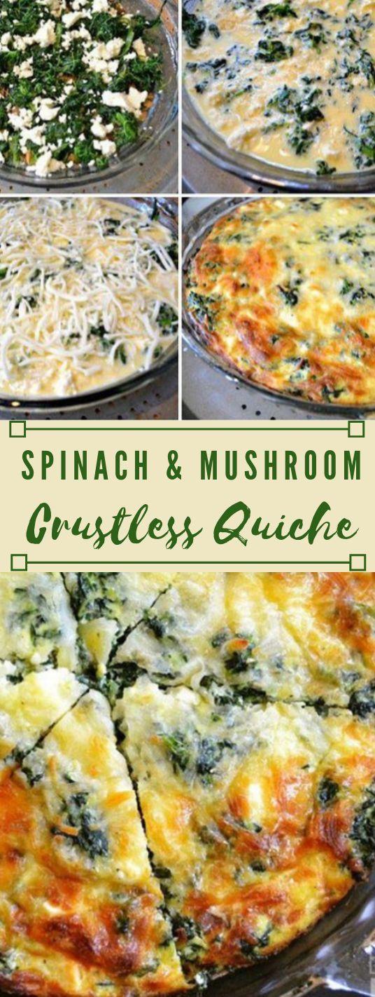 SPINACH MUSHROOM AND FETA CRUSTLESS QUICHE #vegan #vegetarian #mushroom #cauliflower #easy #insurancequotes