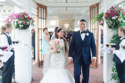 Wedding ceremony at elegant glam wedding at Mallard Island Yacht Club