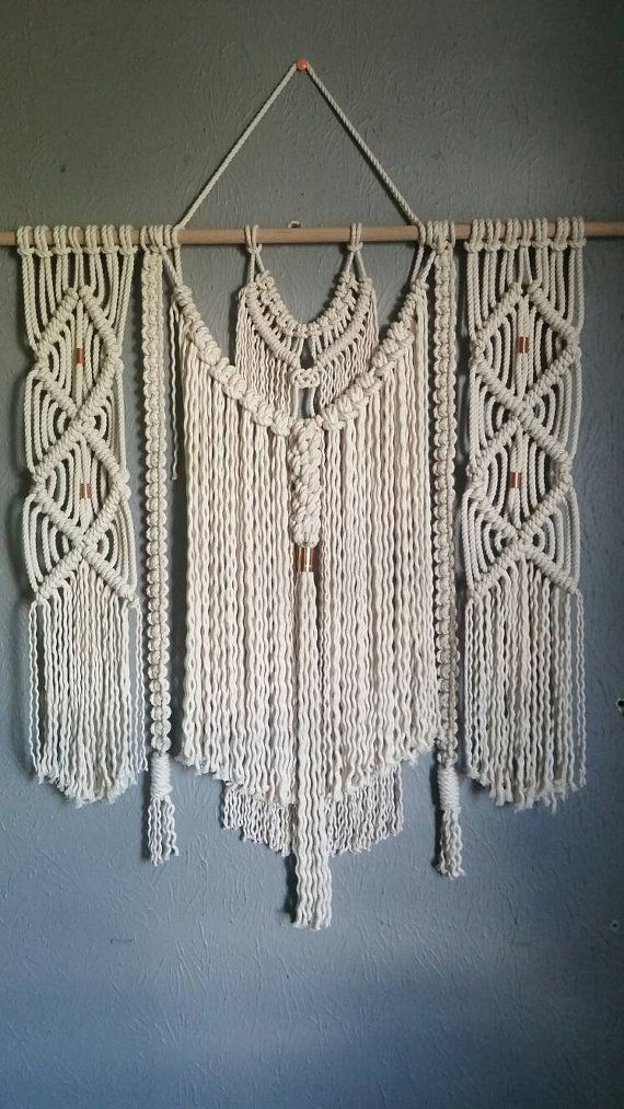 Natural Cotton And Copper Macrame Wall Hanging Boho Wall Decor Macrame Wall Hanging Macrame Wall Hanger Wall Weave