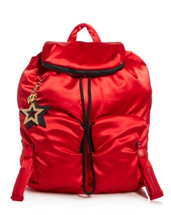 See by Chloe Joy Rider Satin Backpack  - Radiant Red/Gold #seebychloe