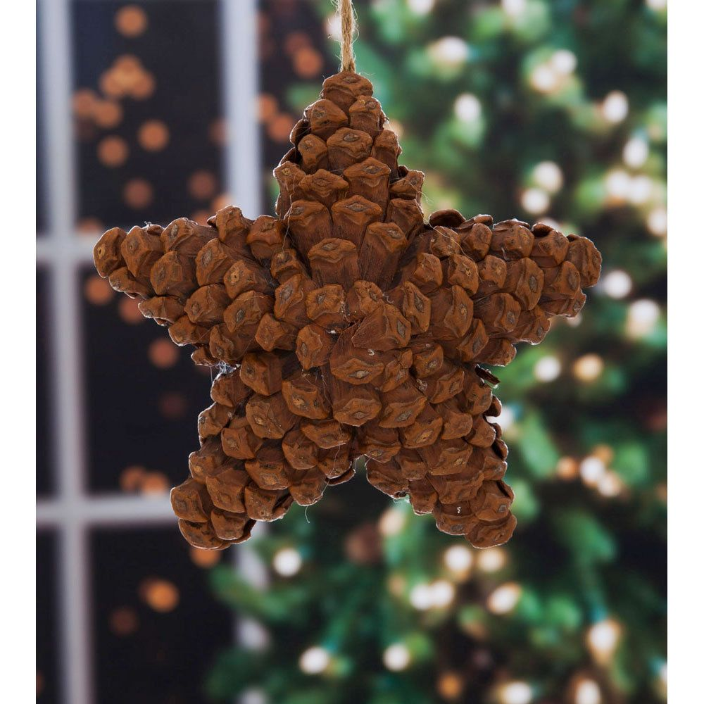 Pine cone star christmas ornament giftedliving pine for Pine cone ornaments