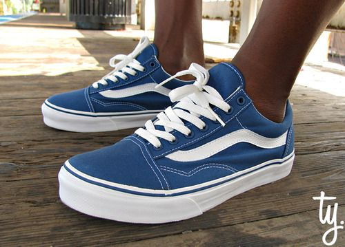 Vans Old Skool - Blue/White | SHOES...AND BOOTS...AND SNEAKERS, OH MY! |  Pinterest | Vans, Van shoes and Trainers