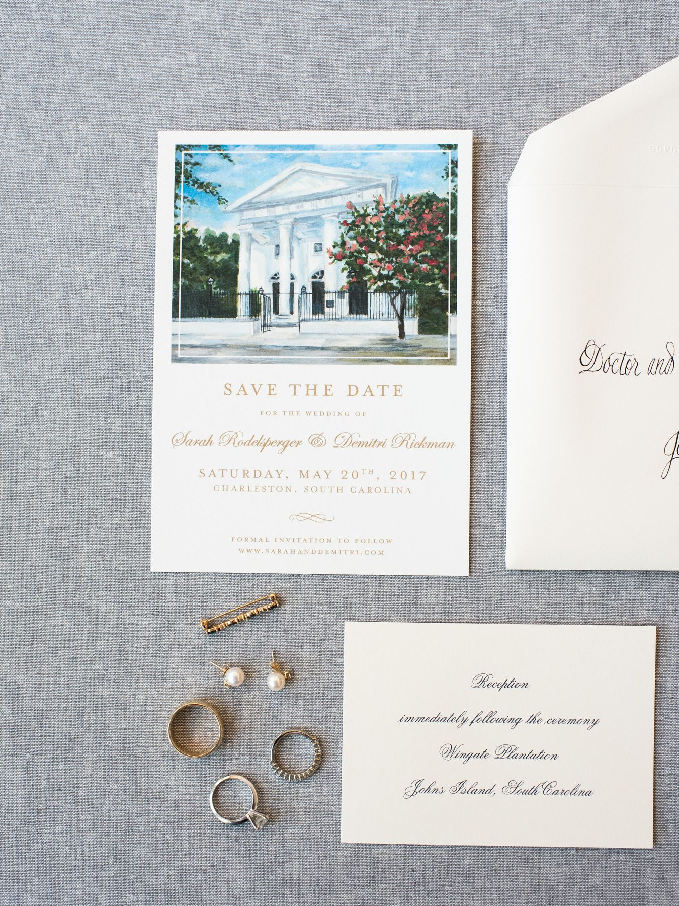 Wedding Invitation Suite First Baptist Watercolor Save the Date ...