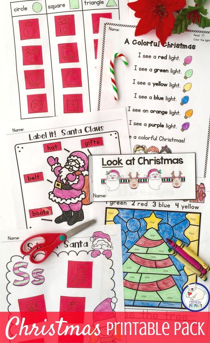christmas activities language arts and math printables