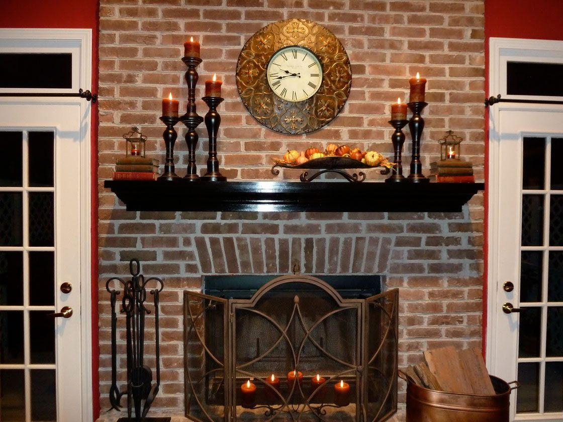 Decorating Ideas Great Decorating Fireplace Mantels With Black Wooden  Chunky Candle Holder Over The Floating Shelf Along With Red Brick Wall  Accent Amazing ...