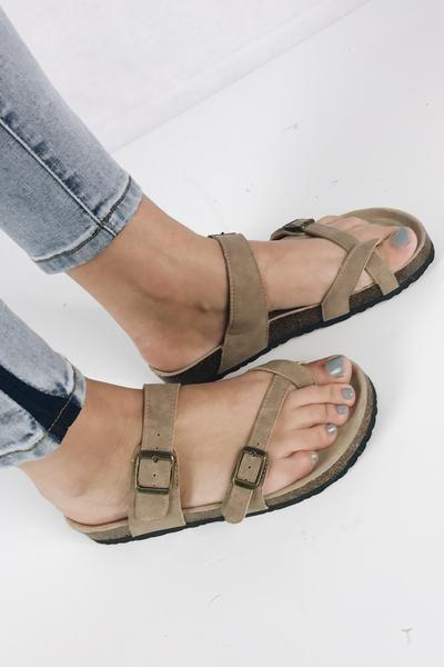 d7b22588e61 Strappy Birkenstock look alike sandal. Crisscross straps form a toe loop