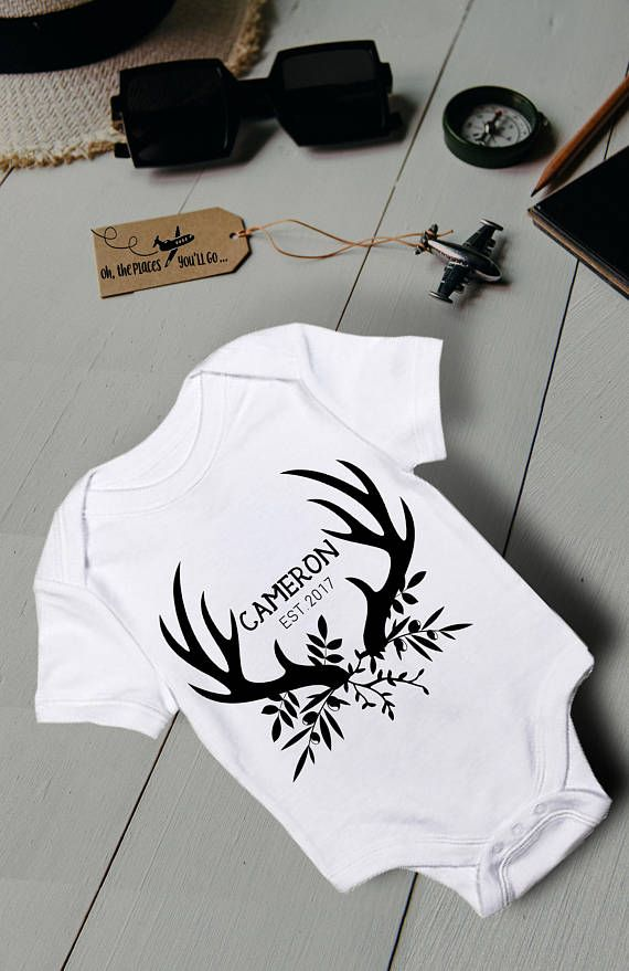 e67698dab Antler Bodysuit/ Personalized Baby Shirt/ Custom Baby Outfit/ Name ...