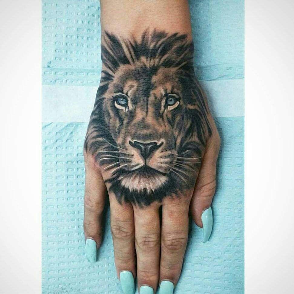 Loveeee Lion hand tattoo, Hand tattoos, Hand tattoos for