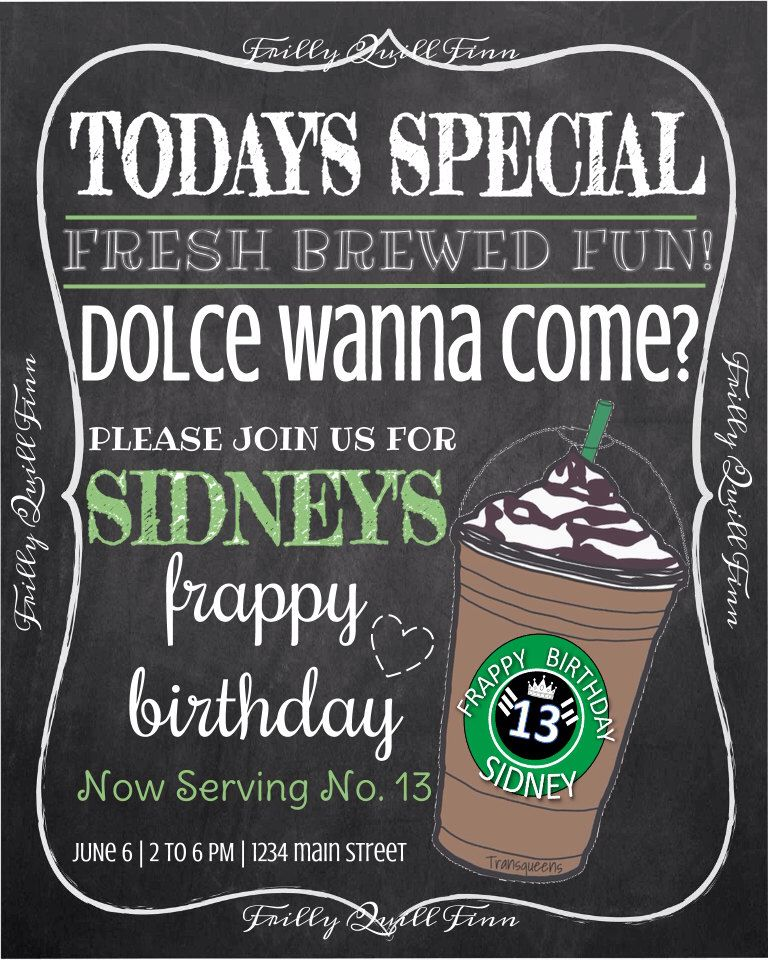 Starbucks Coffee Chalkboard Invitation Birthday Invite  Coffee
