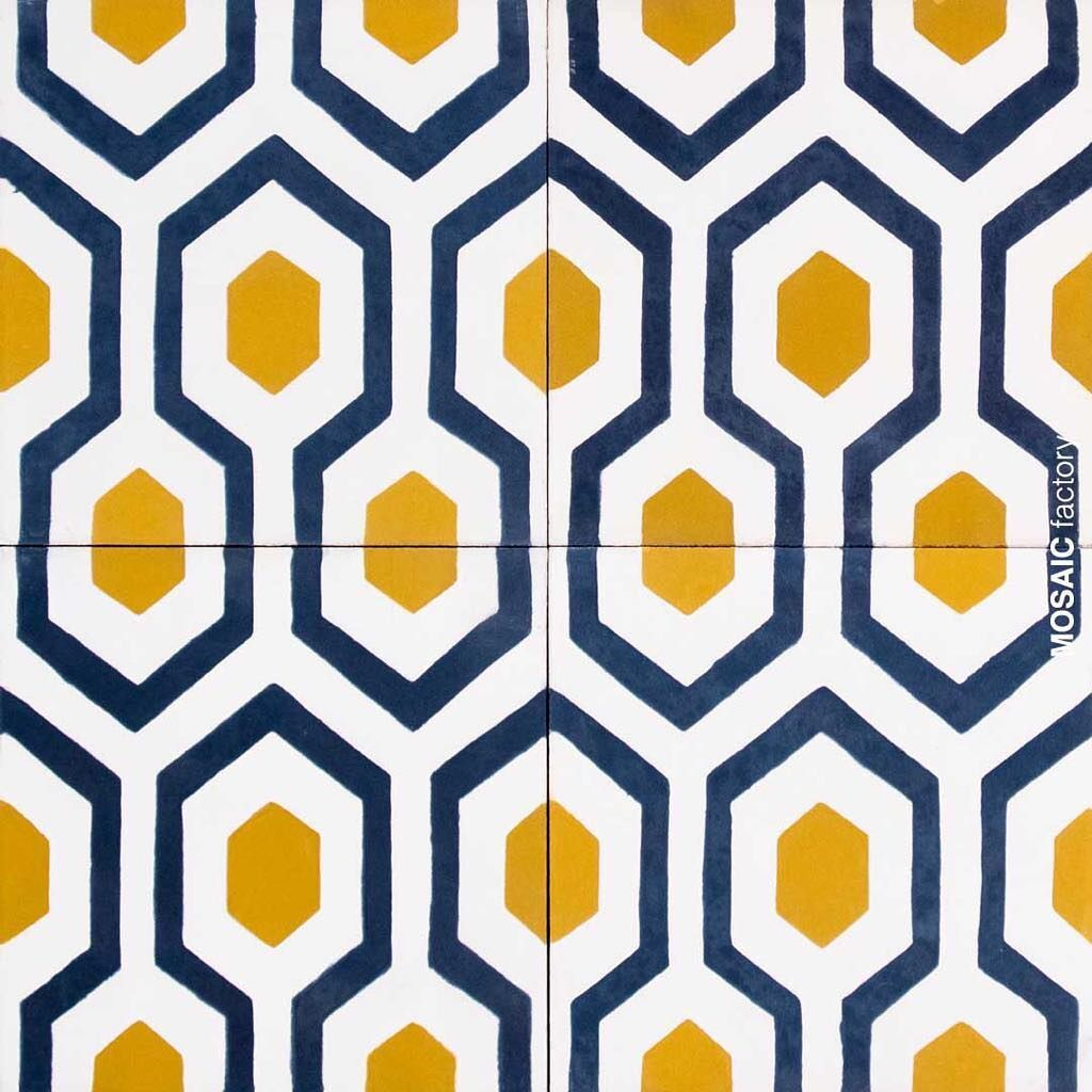 Yellow Geometric Gooseye Tile Pattern