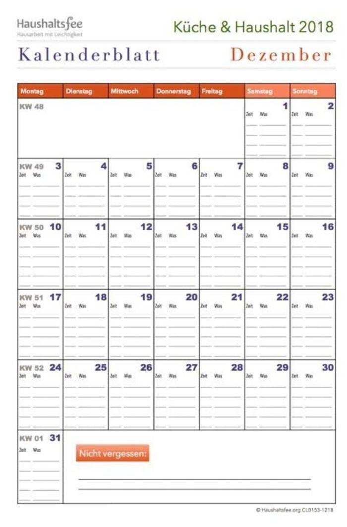 Monatsplaner Fur Die Kuche Kalender Checkliste Herunterladen Download Pdf Haushaltsfee Haushalt Monatsplan E Mailing