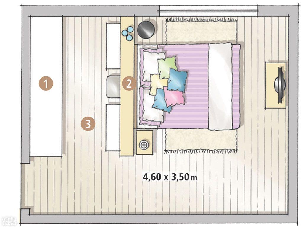 Planta Quarto Closet Quartos Pinterest Quarto De Casal  ~ Diy Decoração Quarto Feminino E Quarto Pequeno Com Closed