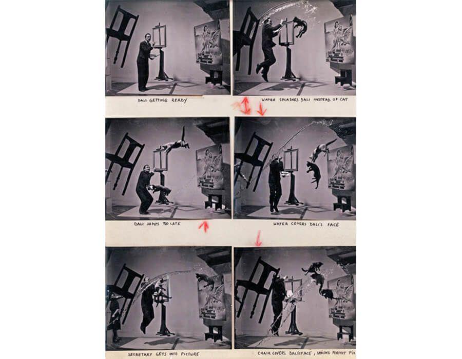 """""""Dali Atomicus"""", foto de Philippe Halsman. É inspirada na obra (que aparece no fundo) de Dali """"Leda Atômica"""", em que todos os objetos da cena criada estão suspensos no ar, representando a teoria de que os átomos não se tocam."""