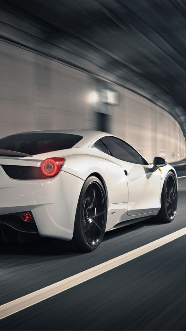Ferrari F458 Coupe Tunnel Racing Iphone 5 Wallpaper White