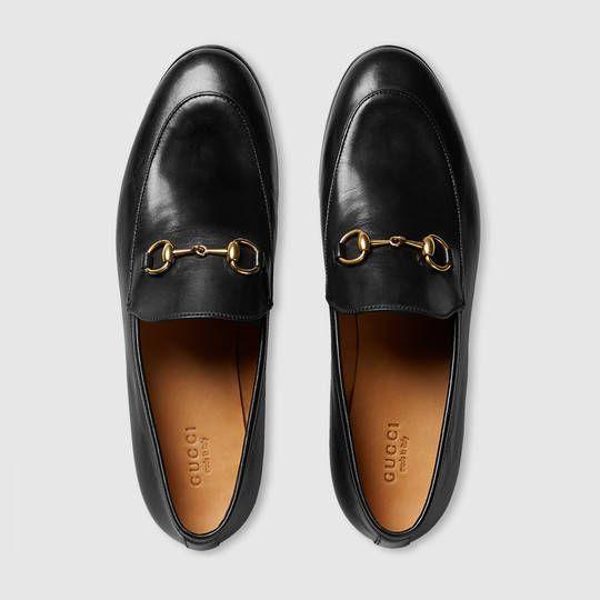 Gucci Chaussures   Gucci Femme Mocassin en cuir Jordaan Gucci  404069BLM001000 38f9ba942bb