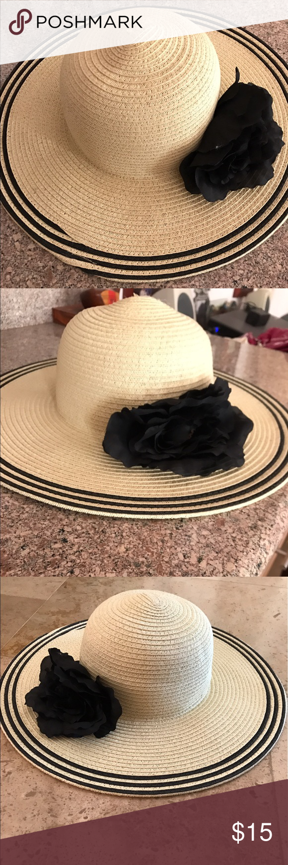 5de18ba0e6db4 Floppy summer hat with black detail perfect condition Nine West summer hat.  slightly relaxed floppy
