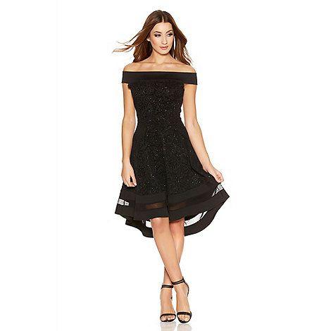 971e27bd Quiz Black Glitter Bardot Dip Hem Mesh Dress | Debenhams | women's ...