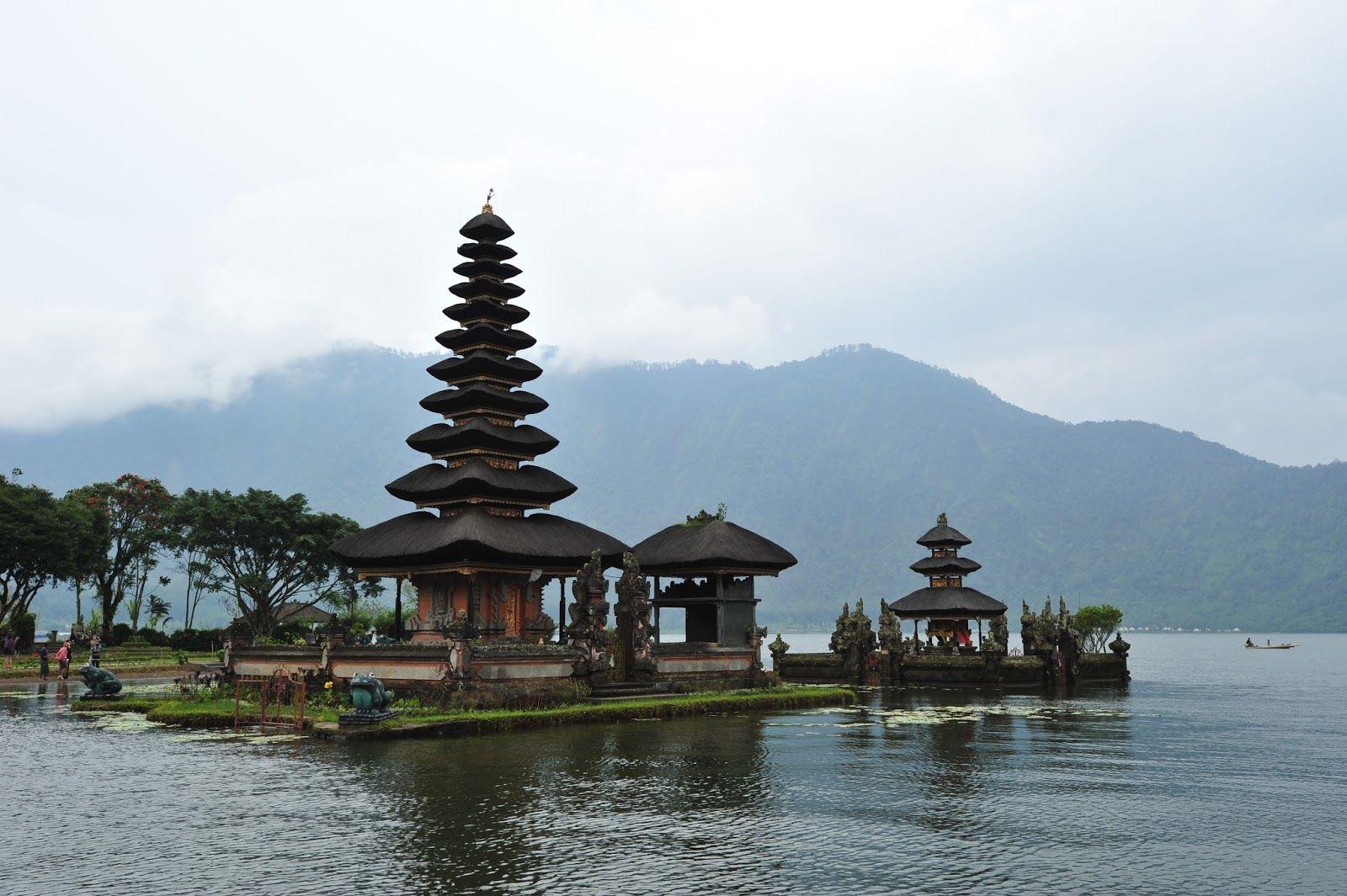 Pura Ulun Danu Bratan, Or The Shivaite Water Temple In Lake Bratan And The Gitgit Twin Waterfall In Bali, Indonesia
