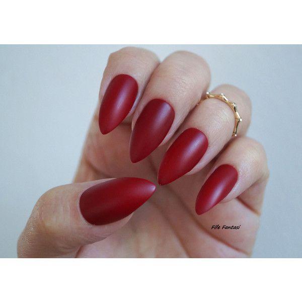 Burgundy Nails, Matte Stiletto Nails, Fake nail, Stiletto nails ...