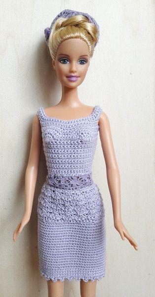 Puppenkleidung - Barbie Kleid (gehäkelt), lavendel, eng - ein ...