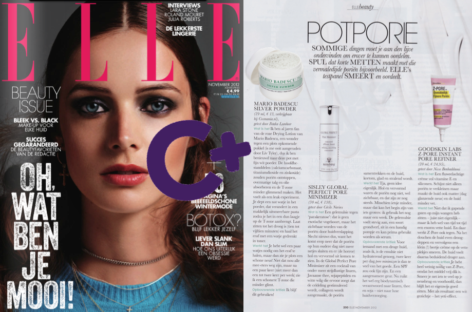 "Seen in ELLE ""Stuff that deals with those damned pores. ELLE judges: Mario Badescu Silver Powder. I'm already for years fan of the pink Drying Lotion from Mario Badescu, a miracle against suddenly emerging pimples (I was once advised by Liv Tyler), so I'm curious about this jar with fine white powder ....Does it work? You need a few cotton pads, but then you suddenly see a clean nose! After a few times I see a cleaner T-zone, less shiny. Constructive criticism: I'll continue using it!"" ;-)"