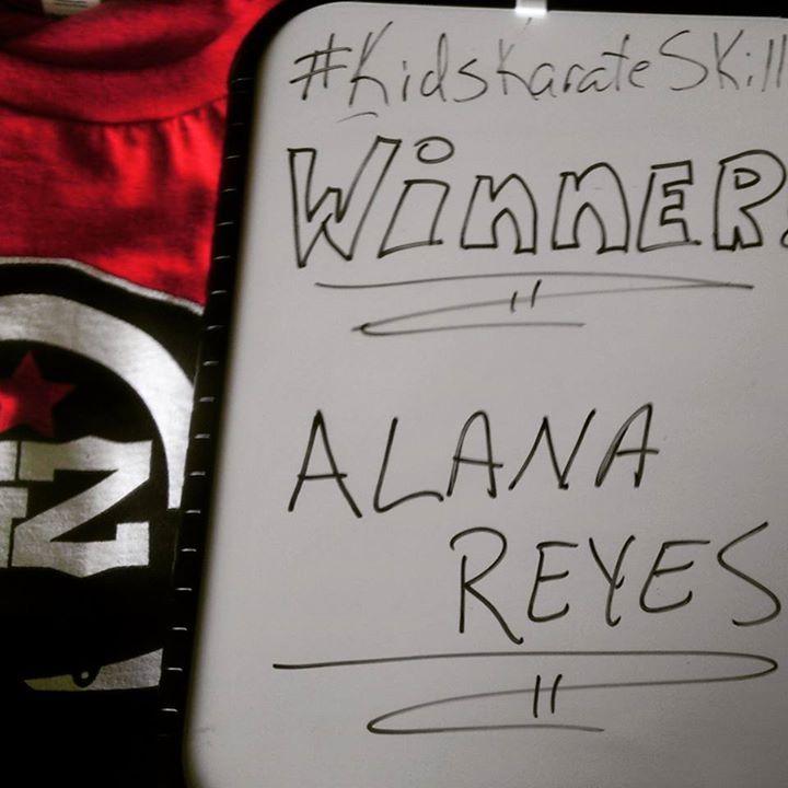 Congrats Alana on winning the Tshirt Contest!    www.KidsKarateSkillz.com