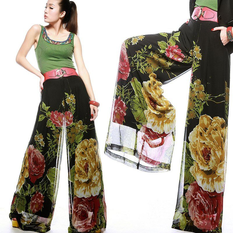 Free Ship Plus Size Fashion Women Printed Peony Pattern Wide Leg