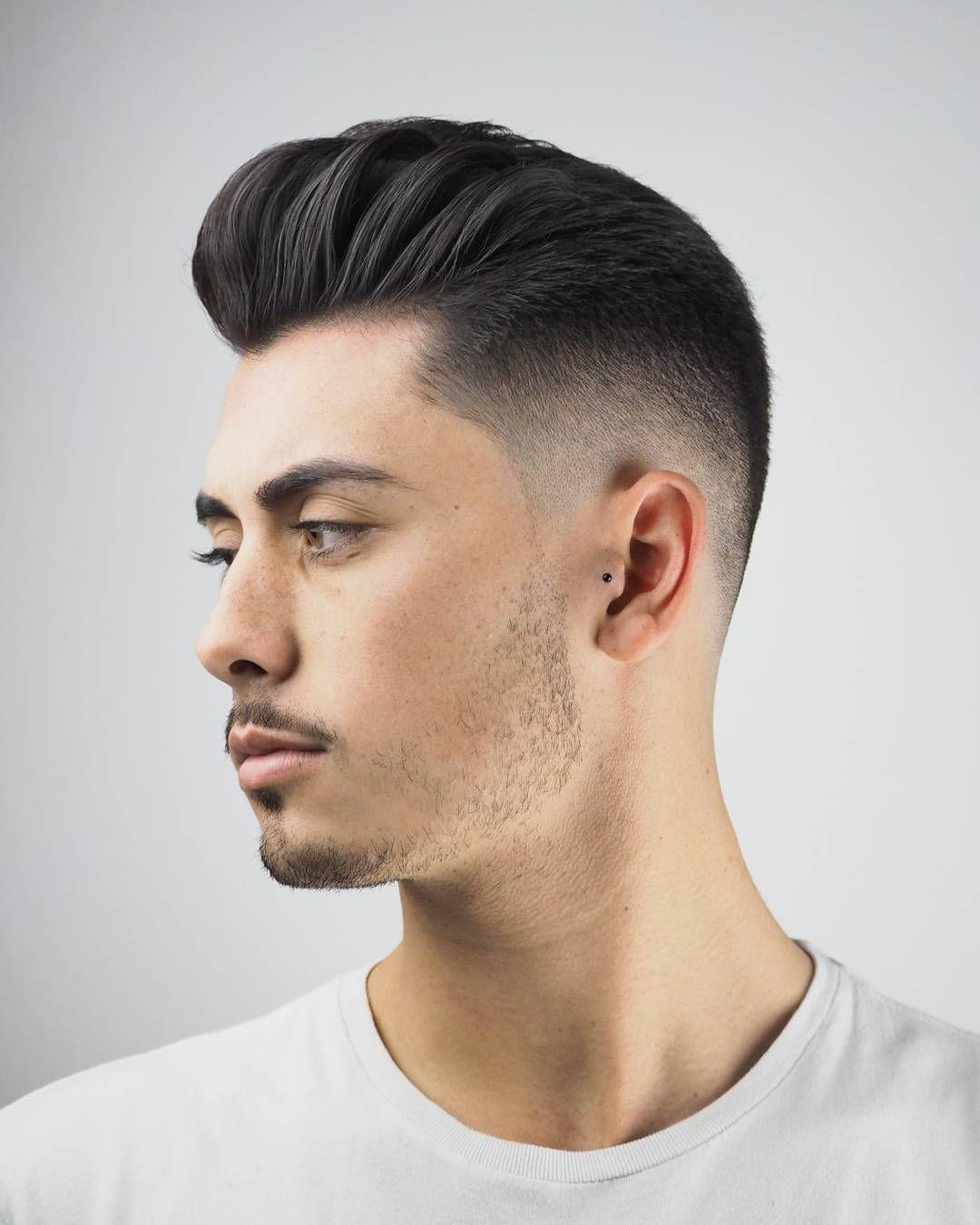 Men's pompadour haircut menus toupee human hair hairpieces for men  inch thin skin hair