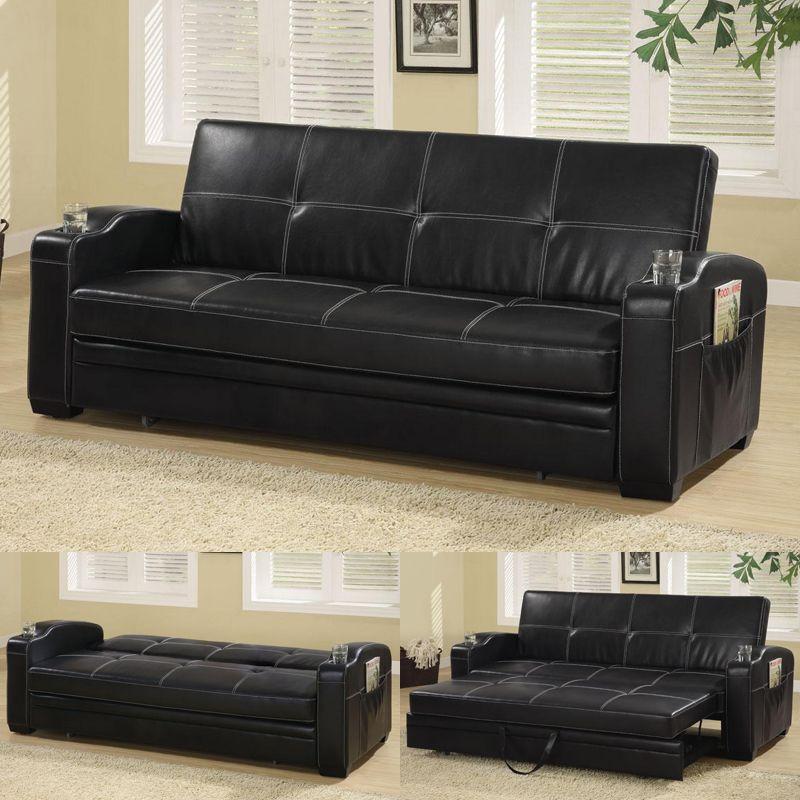 Attractive Coaster Furniture 300132 Black Pull Out Futon Sleeper Sofa Bed