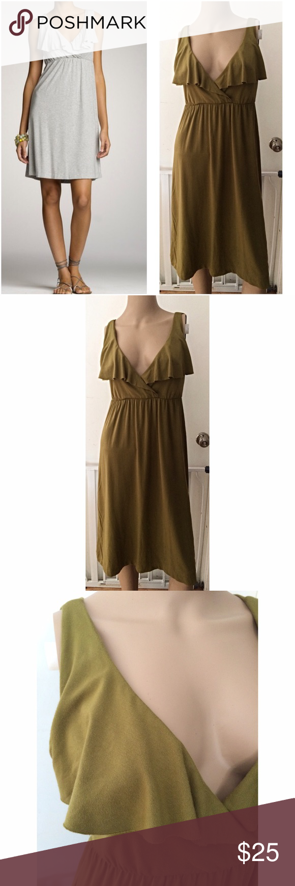 "EUC J. Crew Olive Green Ruffle Neck Dress In great pre-loved condition dress from J. Crew in size x-small, but probably can fit a small too. Has lots of stretch to the dress. In a soft jersey like fabric, in a olive green color. Measure about 37"" length,12"" waist not stretch out, 17.5"" pit to pit. ❌Sorry no modeling or trades. Model pic is same style, but different color. For sale is he GREEN color. Offers welcome. Thank you‼️ J. Crew Dresses Mini"