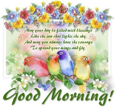 Good Morning quote flowers birds friend good morning