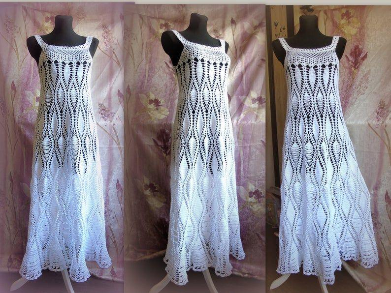 Crochet dress Pattern White Long wedding sundress PDF