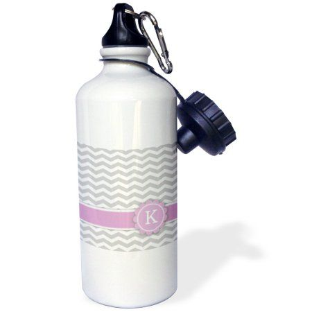 3dRose Letter K monogrammed on grey and white chevron with pink - gray zigzags - personal initial zig zags, Sports Water Bottle, 21oz