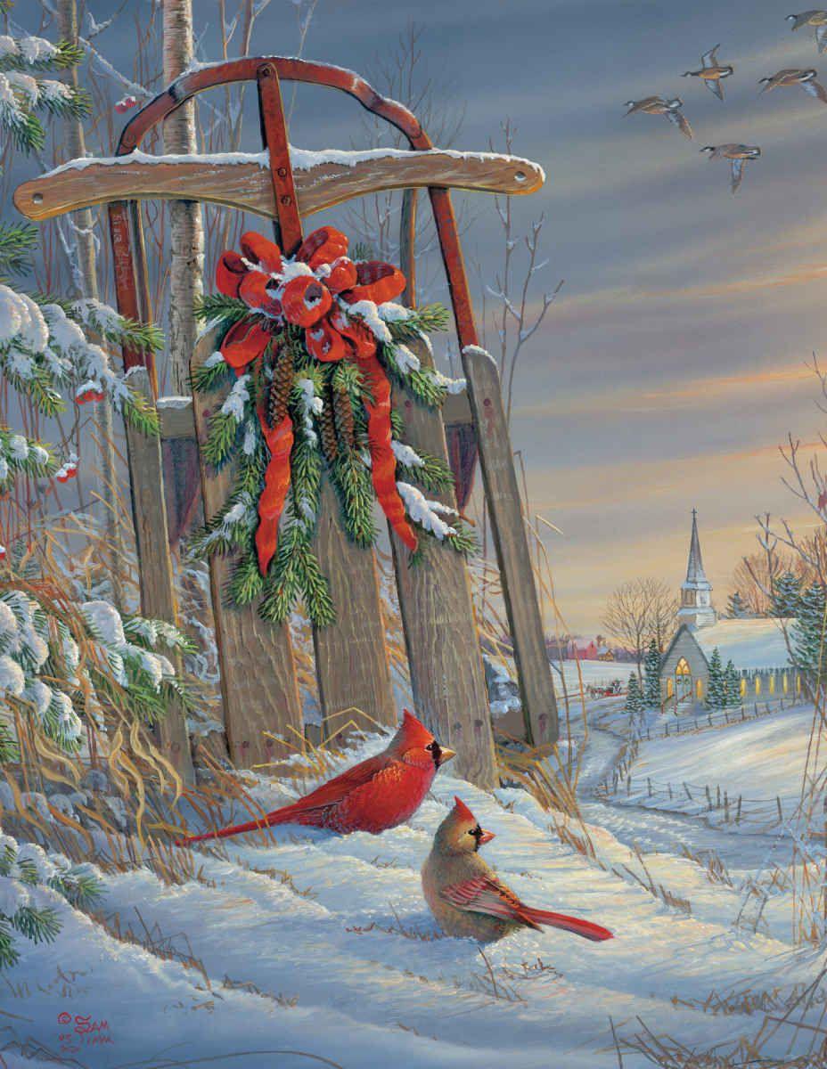 Winter Red Birds - 1000pc Jigsaw Puzzle by Springbok