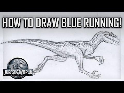 Tutorial - How to Draw Blue the Velociraptor Running - Jurassic ...