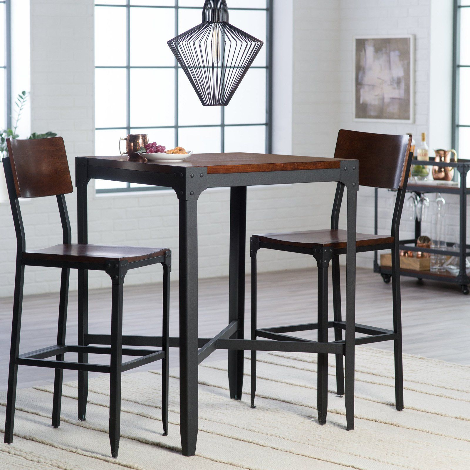 Small Pub Table And Chairs Metal Folding Lowes Belham Living Trenton 3 Piece Set In 2019 Products Redu120