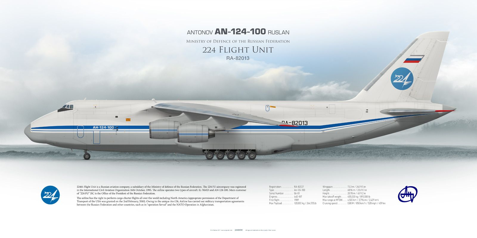 Antonov An-124-100 Ruslan Ministry of Defence of the Russian Federation 224 Flight Unit RA-82013 | www.aviaposter.com | Airliners profile print | #airliners #aviation #jetliner #airplane #pilot #avia #airline