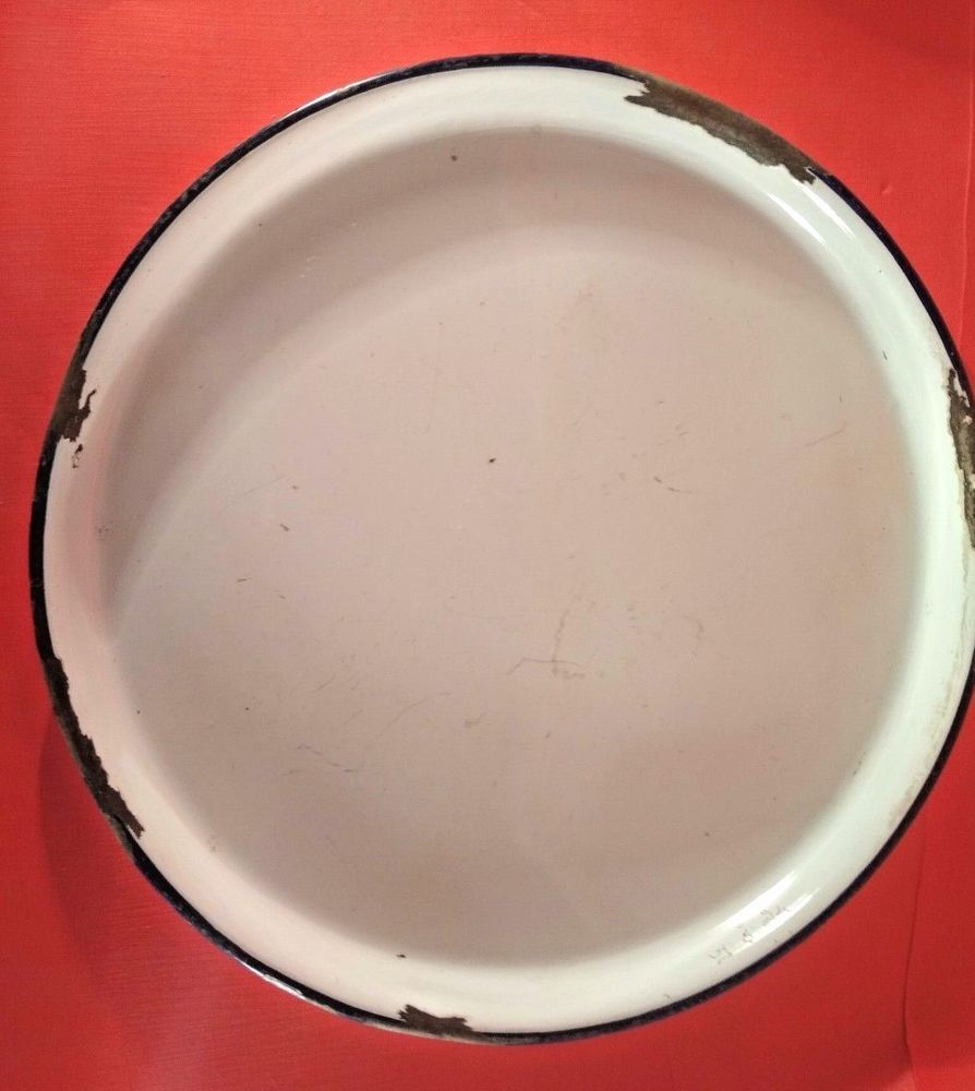 Old Vintage White Blue Porcelain Enamel Metal Round Shape Plate from India 1950