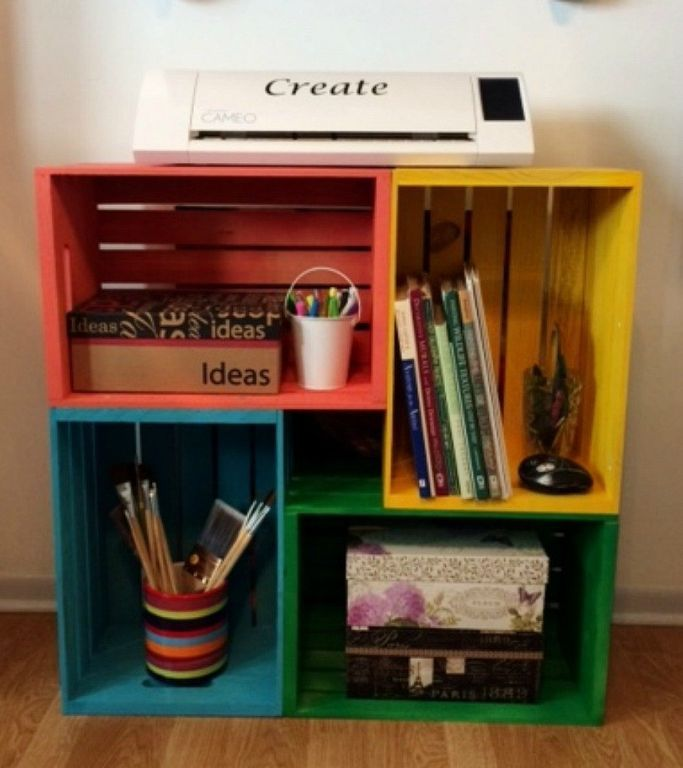 Next time you're at Michaels, grab a few storage crates and copy this woman's simple and clever idea!