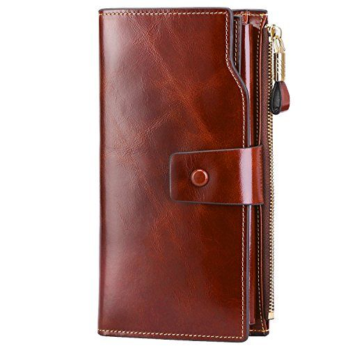 09ef32c867 S-ZONE BIG SALE--S-ZONE Women s RFID Blocking Large Capacity Genuine  Leather Clutch Wallet Ladies Purse Card Holder Organizer