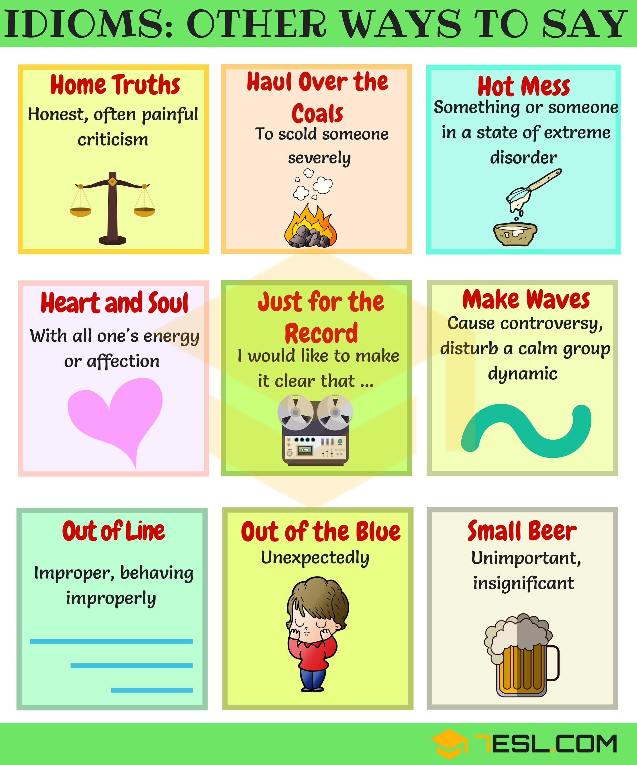 100 Useful Idiomatic Expressions From A Z With Examples 7esl Idiomatic Expressions Idioms And Phrases Learn English Words