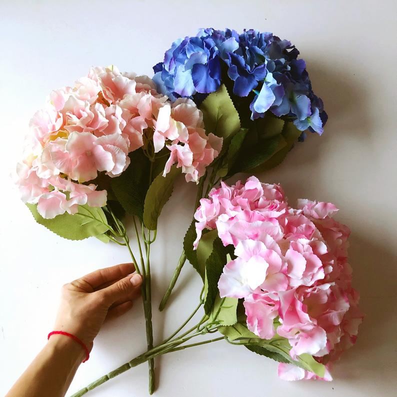 Silk Hydrangea Bouquet Artificial Blooming Flowers Small Flowers Artificial Flowers Faux Flowers Filler Navy Blush With Images Silk Hydrangeas Hydrangea Bouquet Artificial Flowers