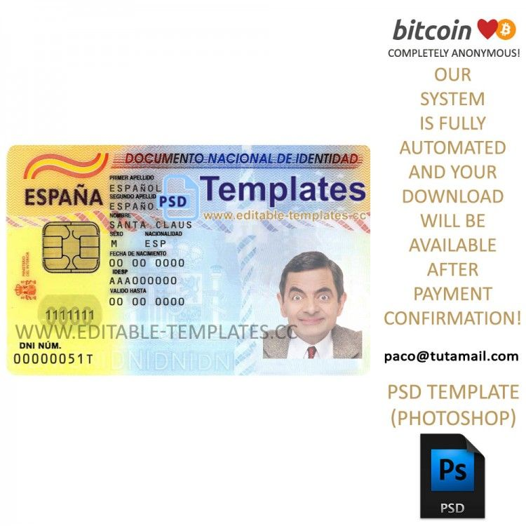 Spain ID Template In 2020