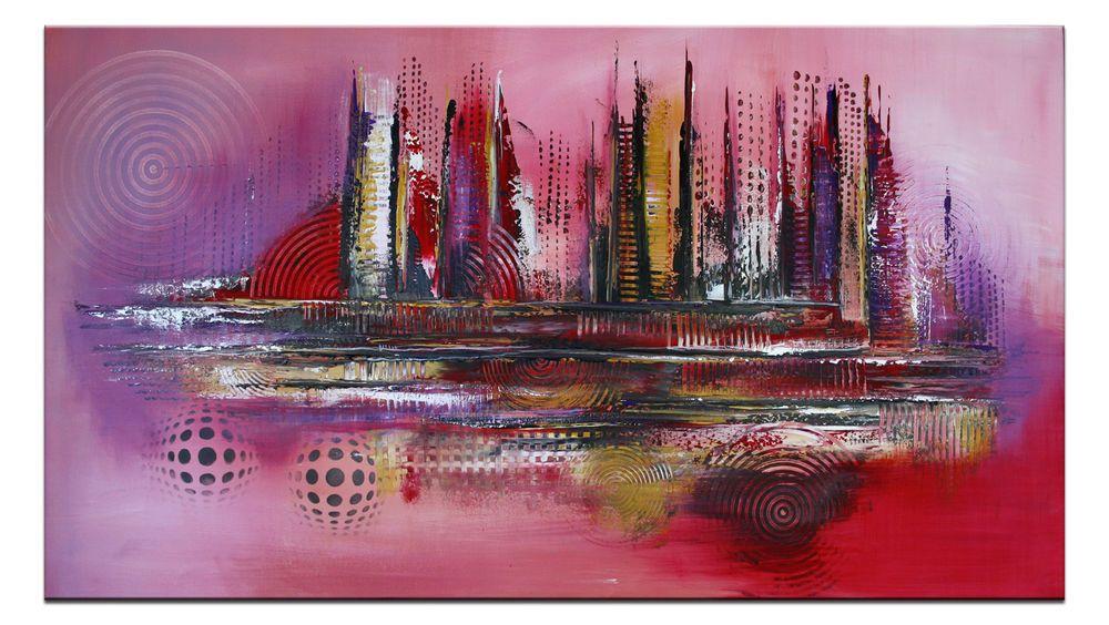 Details zu BURGSTALLER Gemälde abstraktes Unikat Kunst Bilder - Wohnzimmer Modern Lila
