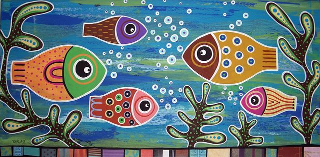 Fishes In A Pond 8x10 Canvas Giclee Print Karla Gerard